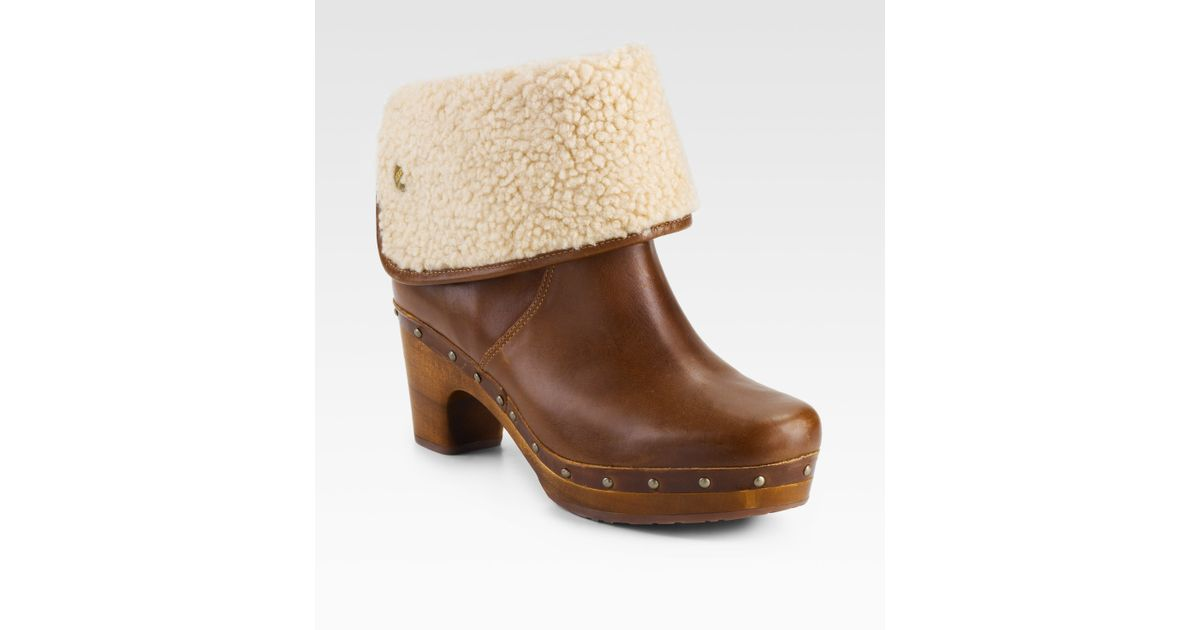 bcbebcded9 Lyst - UGG Lynnea Clog Shearlinglined Ankle Boots in Brown