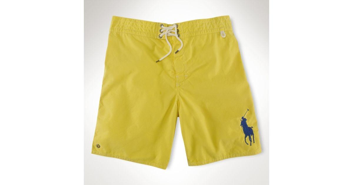 ce0c1ca0e94ca Lyst - Polo Ralph Lauren Sanibel 8 Solid Swim Trunk in Yellow for Men