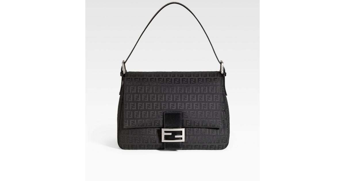 fe618ed0d101 Lyst - Fendi Zucchino Mamma Forever Baguette Shoulder Bag in Black