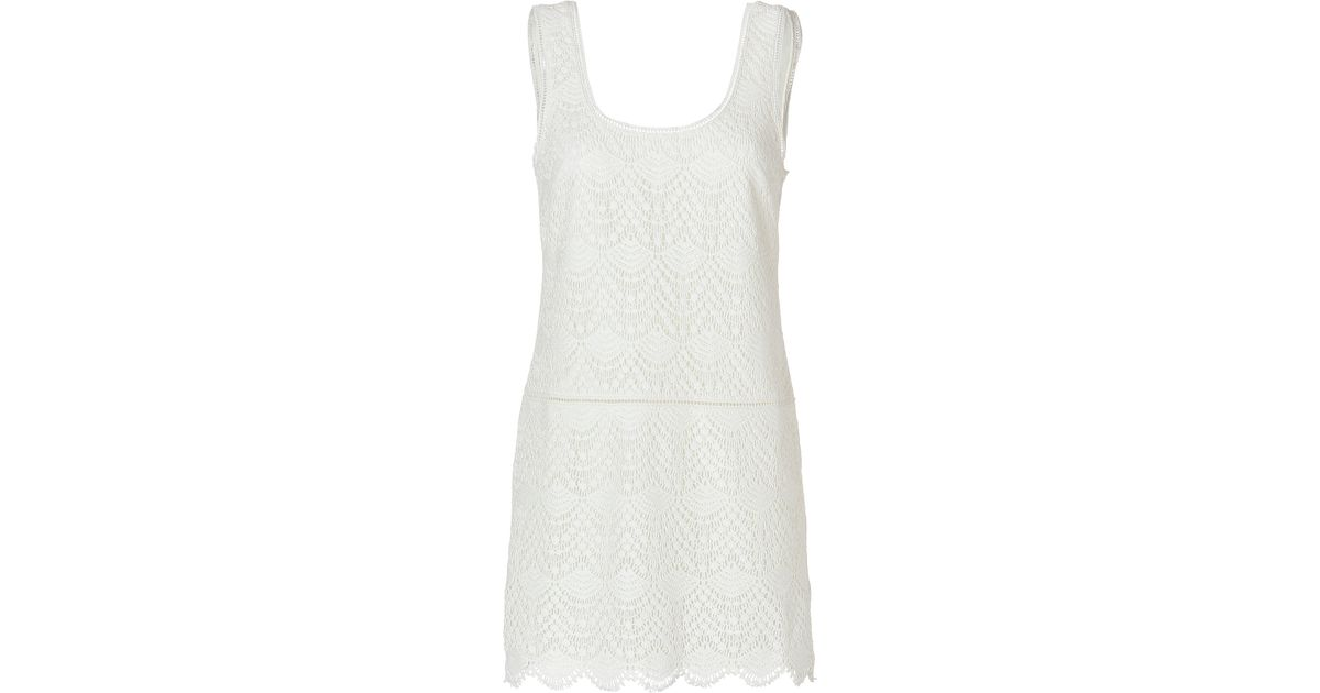Lyst - Juicy Couture Crochet Lace Tank Dress in Angel in White