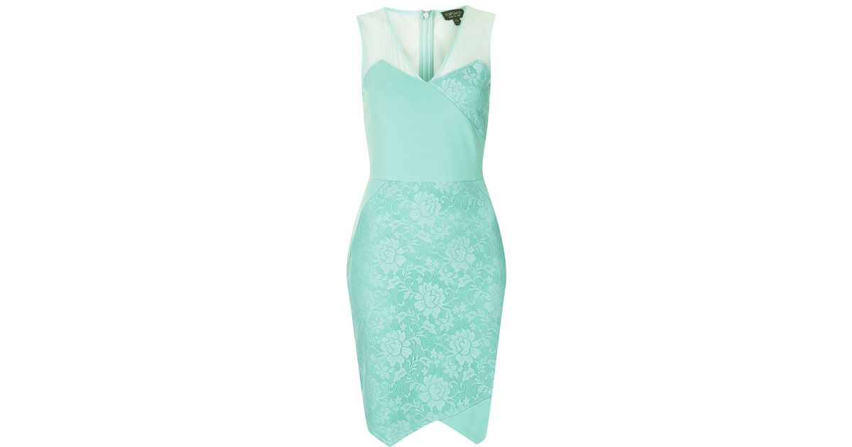 Lyst topshop lace applique bodycon dress in green