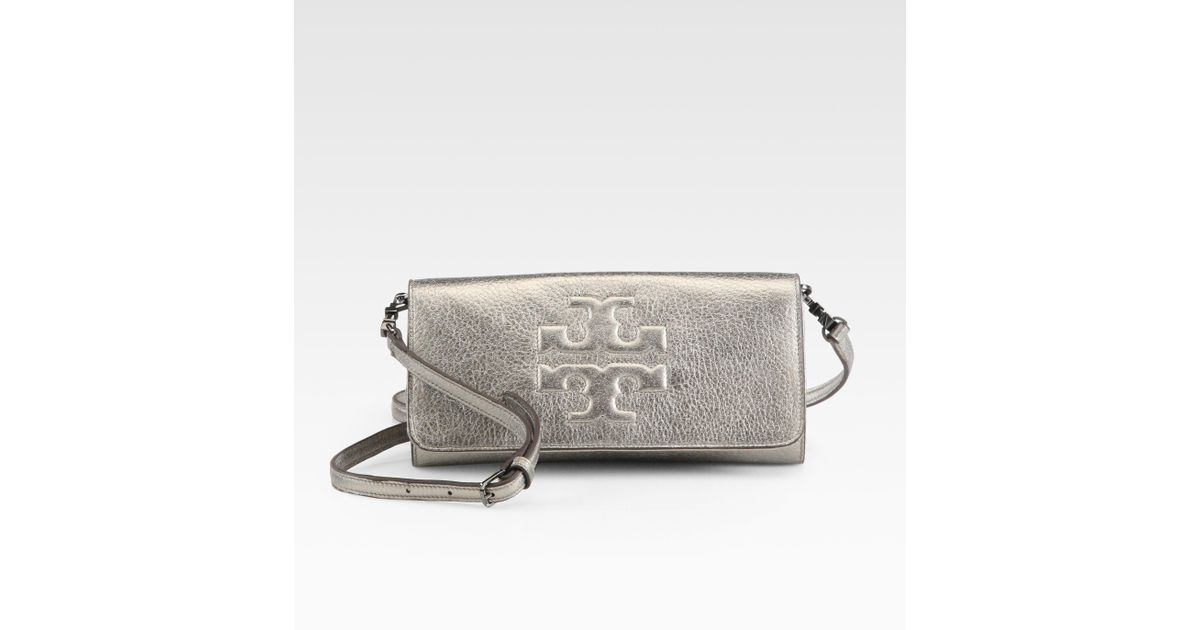 a0c5b4aab8e8 Lyst - Tory Burch Thea Metallic Bombe Eastwest Clutch in Gray