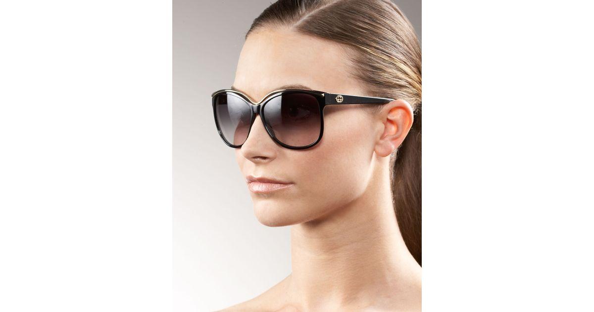 05ef628d94530 Gucci Retro Cat Eye Sunglasses in Black - Lyst
