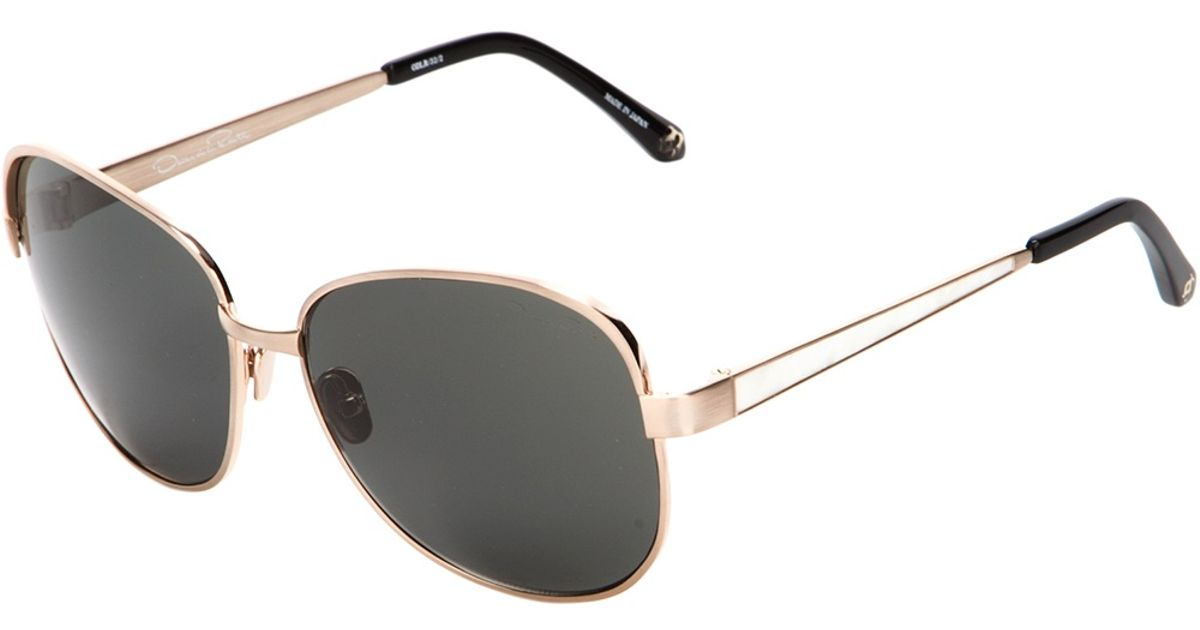 Square Gold Frame Sunglasses : Oscar de la renta Square Frame Sunglasses in Gold Lyst