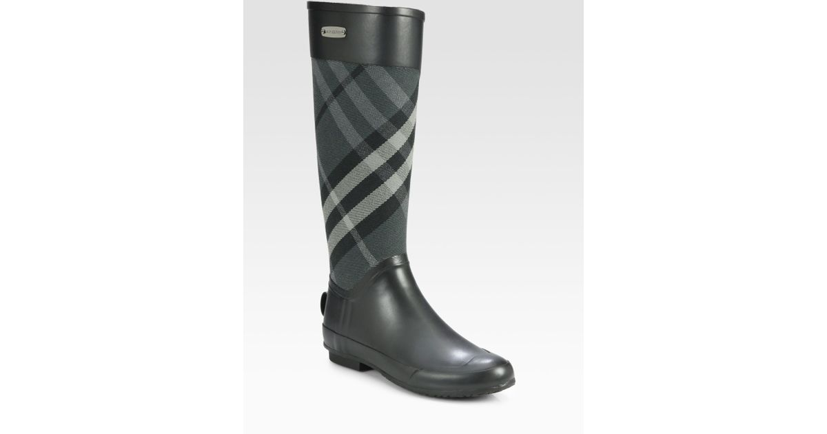 Lyst - Burberry Clemence Check Canvas Rain Boots in Gray : burberry quilted rain boots - Adamdwight.com