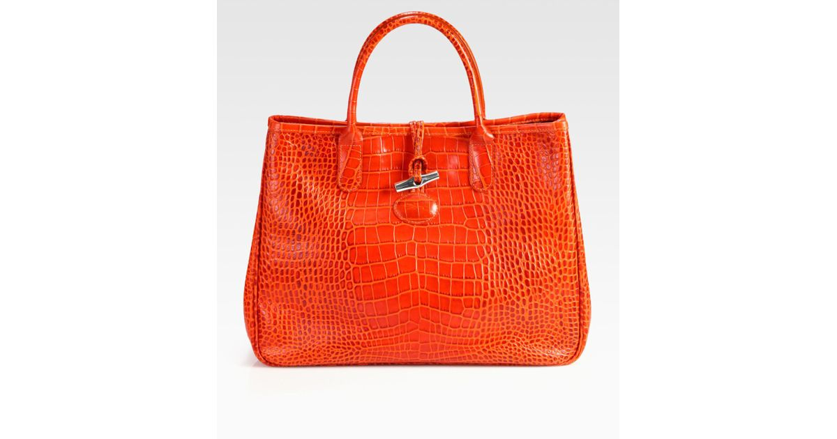Lyst - Longchamp Roseau Crocodile Embossed Leather Tote in Orange a27808433f781