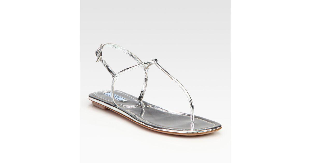 7879a8dd4dd Lyst - Prada Metallic Leather Thong Flat Sandals in Metallic