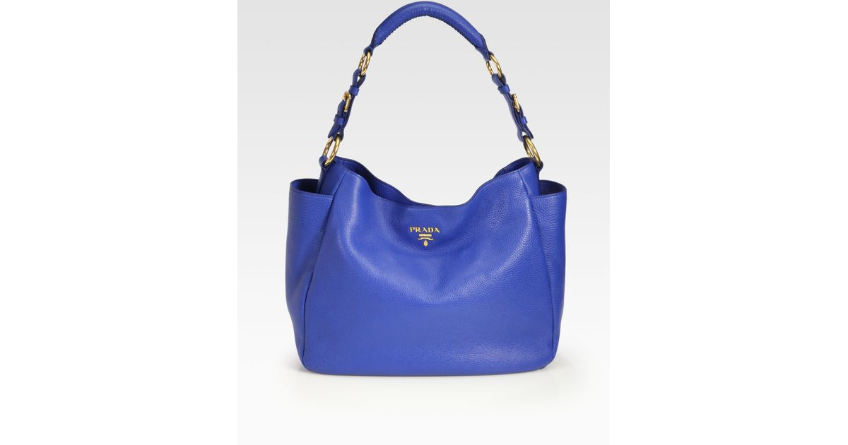 Prada Daino Side Pocket Hobo in Blue (azzurro-blue) | Lyst