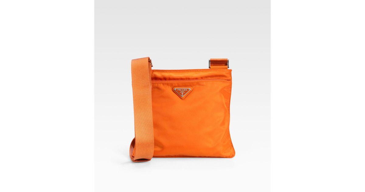 861e1c754ebb Lyst - Prada Nylon Messenger Bag in Orange