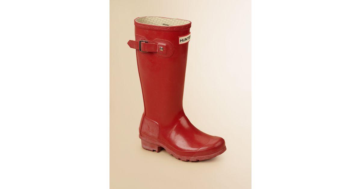 Hunter Kids High Gloss Original Tall Rain Boots in Red | Lyst