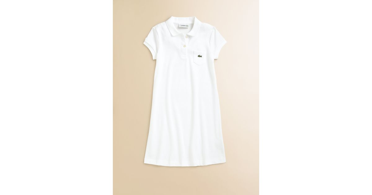 799ba53a7 Lacoste Girls Pique Polo Dress in White - Lyst