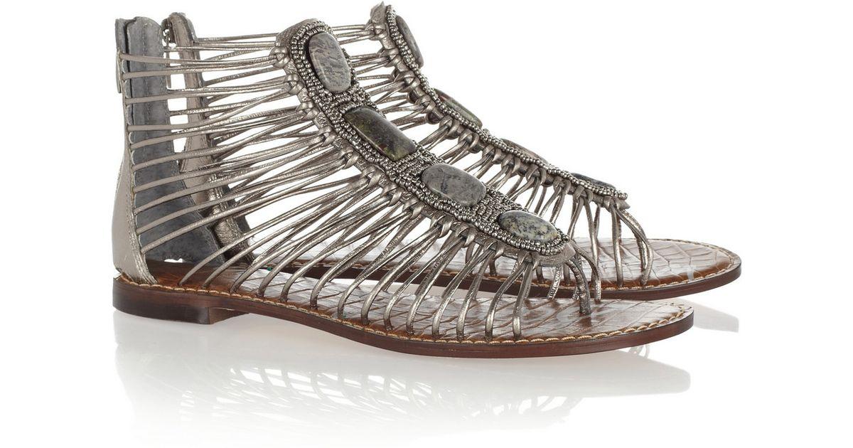 5c68c39a0b7c4a Lyst - Sam Edelman Hazel Stone and Beadembellished Metallic Leather Sandals  in Metallic