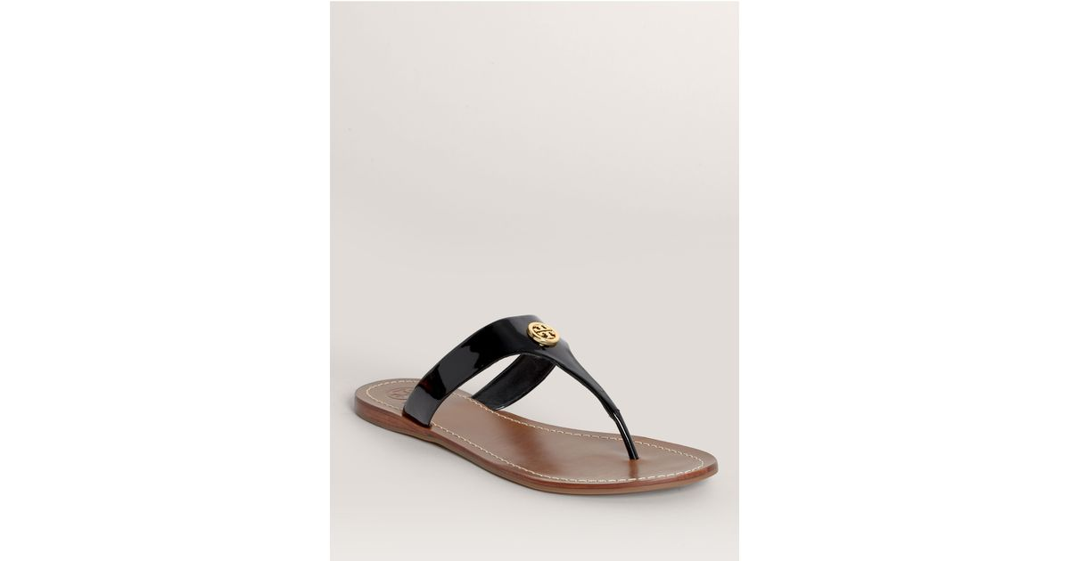 8f0eff41e19784 Lyst - Tory Burch Cameron Patent Thong Sandals in Black