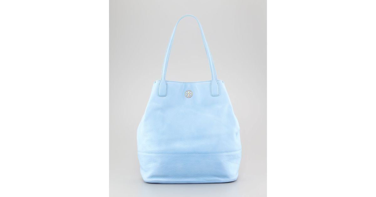 Tory Burch - Michelle Pebbled Leather Tote Bag Light Blue - Lyst 5bb3546c24b97