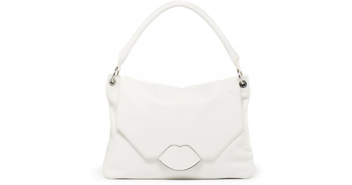 Lyst - Lulu Guinness Chalk Leather Medium Nicola in White b368e377c0126