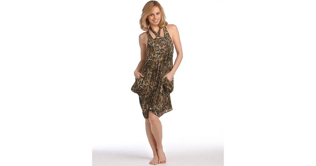 361a9c694e Michael Kors Snakeskin Print Swim Dress Coverup in Brown - Lyst