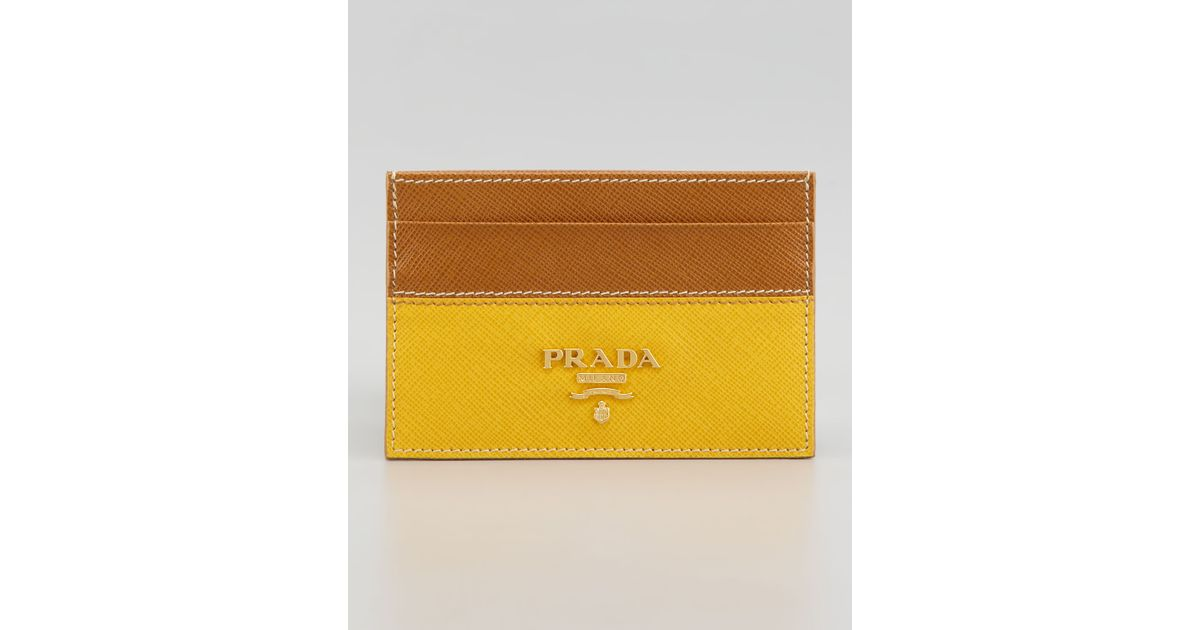 Prada Saffiano Business Card Case in Yellow | Lyst