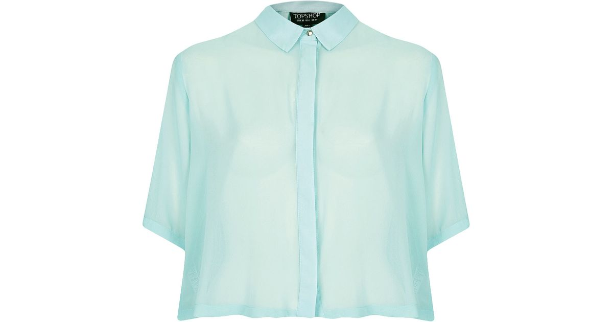 Lyst - TOPSHOP Cropped Pleat Back Shirt in Blue ff651b8a4