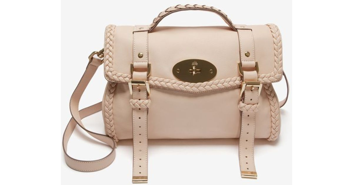 baceafd7897c Lyst - Mulberry Alexa Woven Trim Small Calf Creamy Pink in Pink