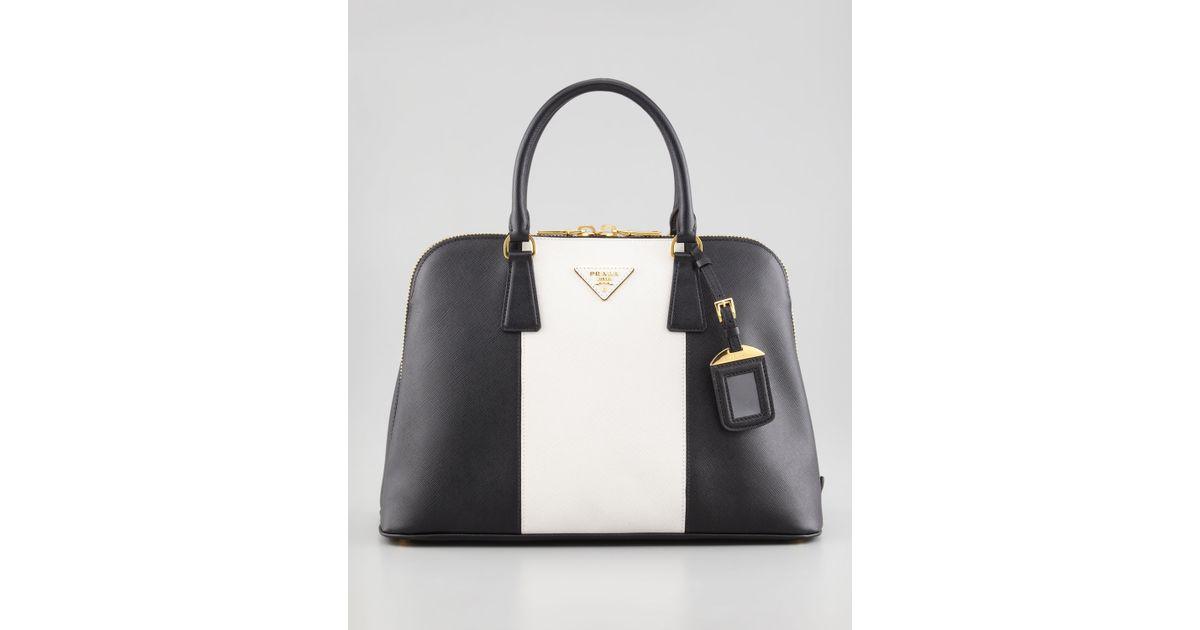 3bd8b5eda5 Prada Bicolor Saffiano Promenade Bag in White - Lyst