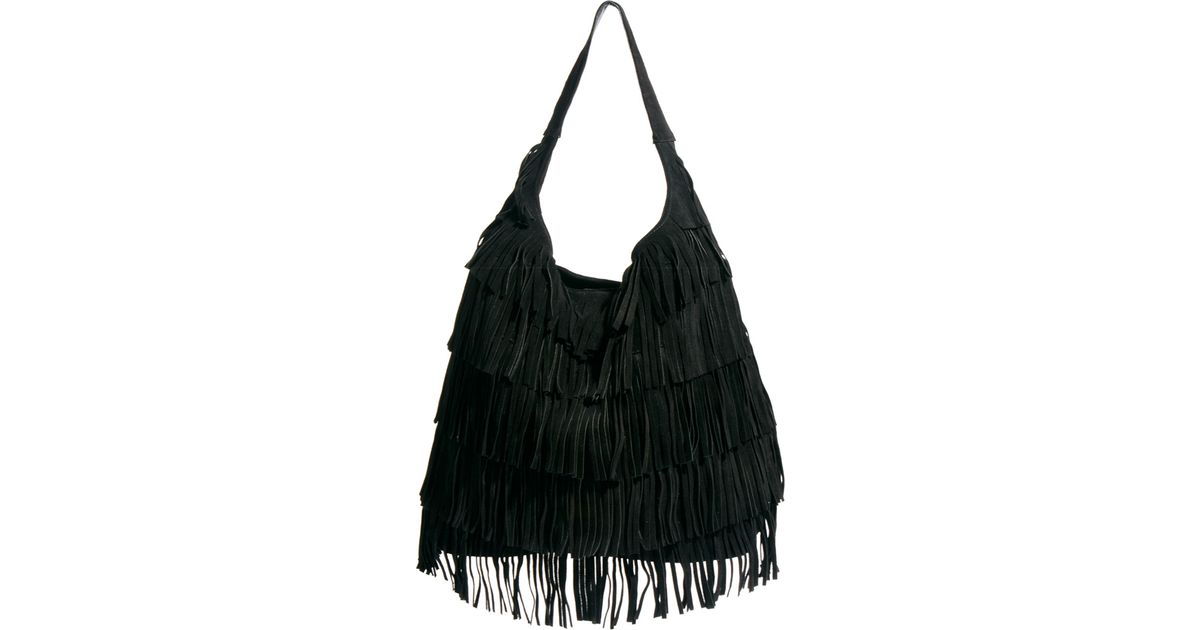 Asos Leather Fringe Hobo Bag in Black | Lyst