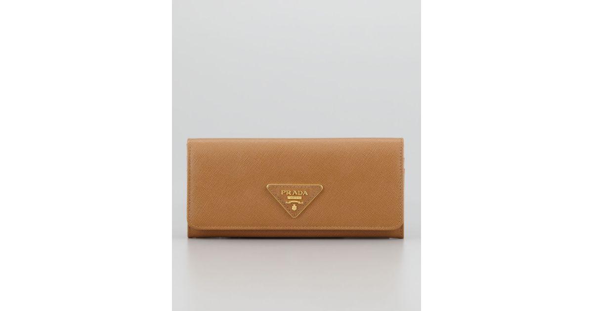 720659b4003b Lyst - Prada Saffiano Triangle Continental Flap Wallet Brown in Brown