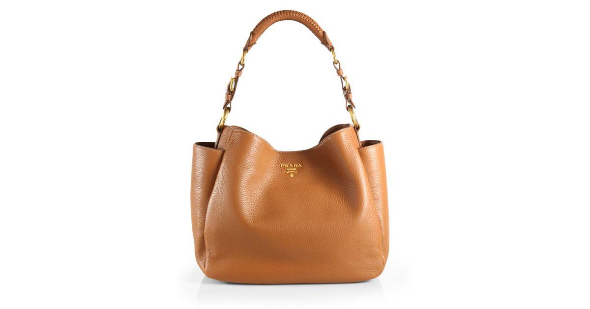 b97761c6eaed9 Lyst - Prada Vitello Daino Hobo Bag in Brown