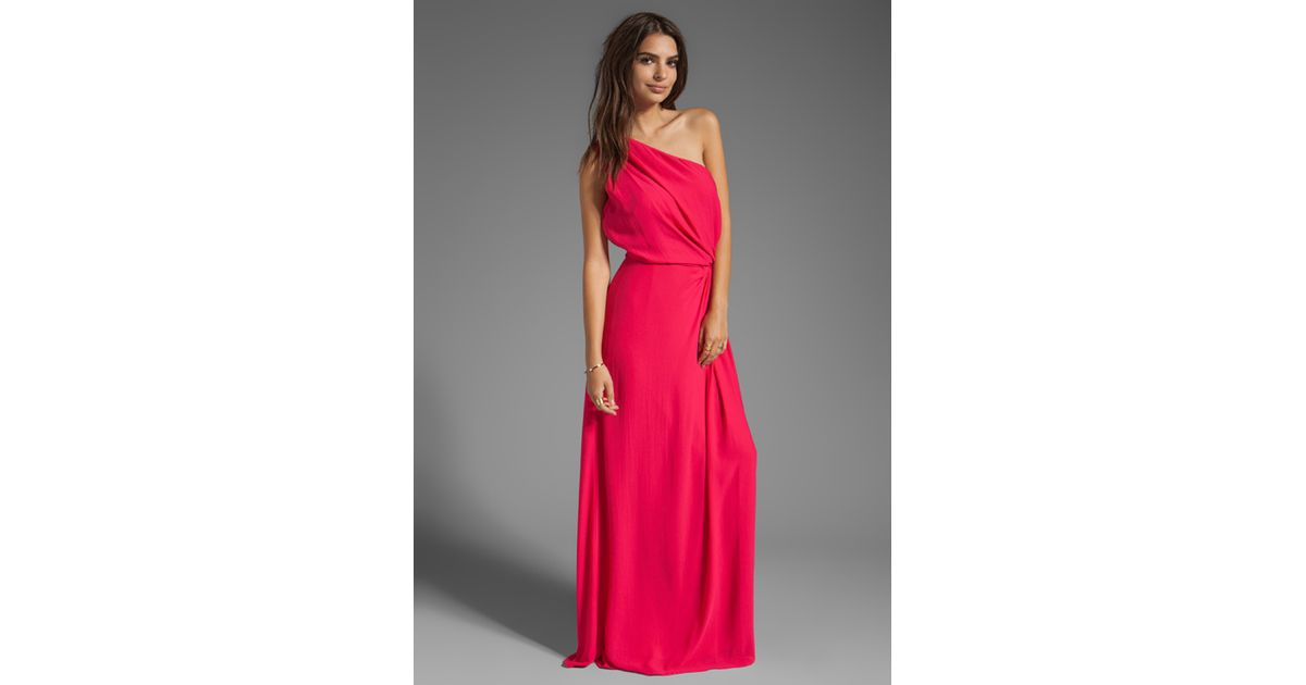 Lyst - Halston One Shoulder Ruched Side Gown in Fuchsia in Pink
