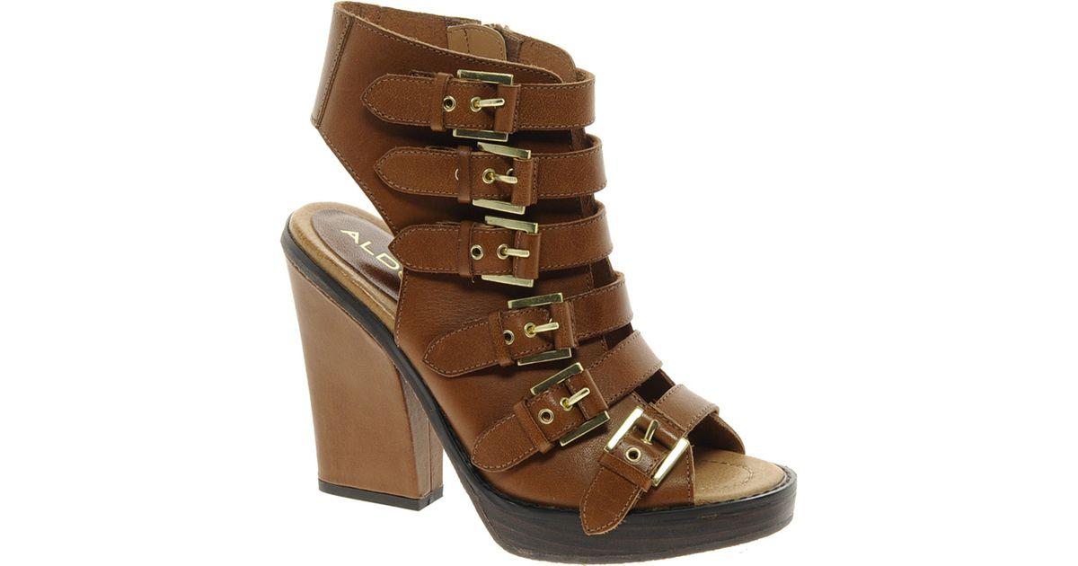 fba6acfe128 Lyst - ALDO Aldo Zosia Tan Buckle Strap Heeled Sandals in Brown