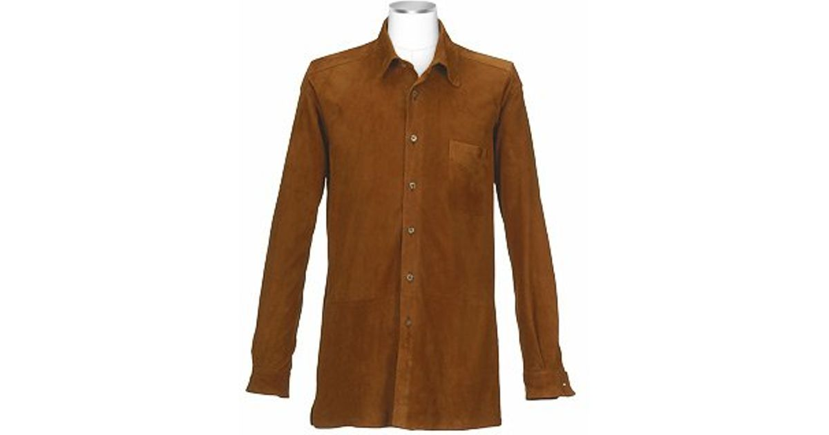 forzieri mens brown italian suede leather shirt jacket in