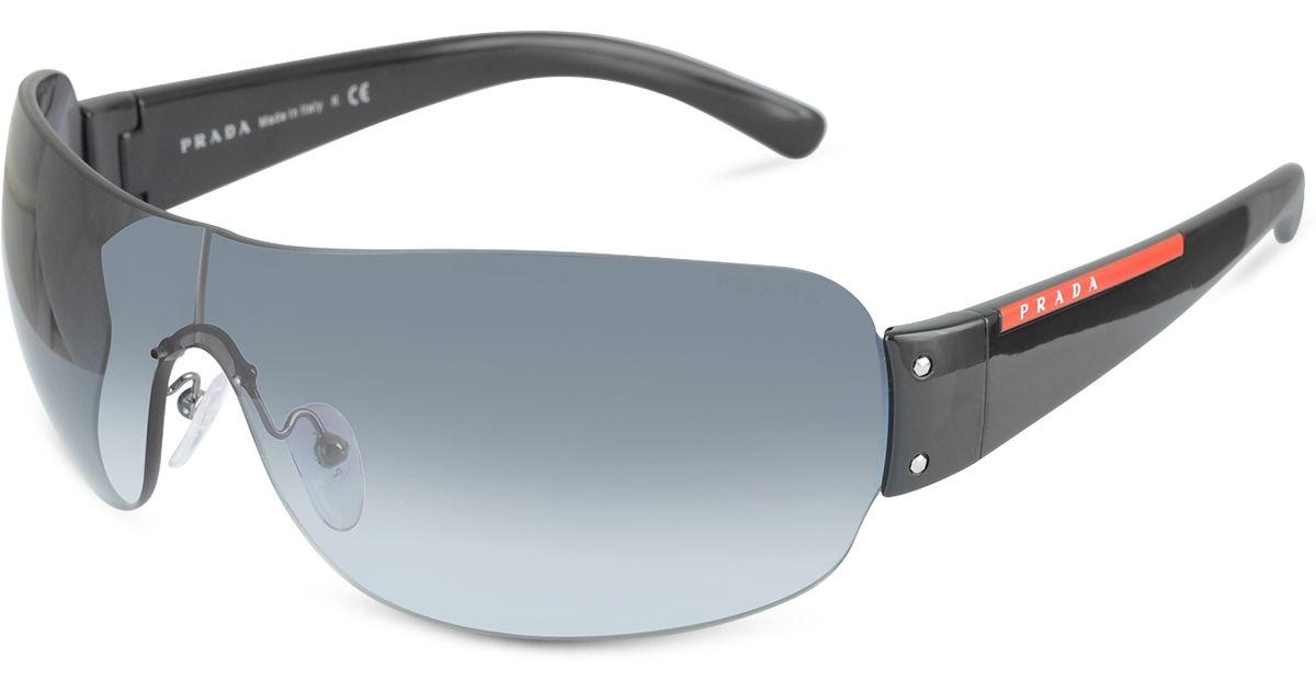976759c6a Prada Linea Rossa Rimless Shield Sunglasses in Black for Men - Lyst
