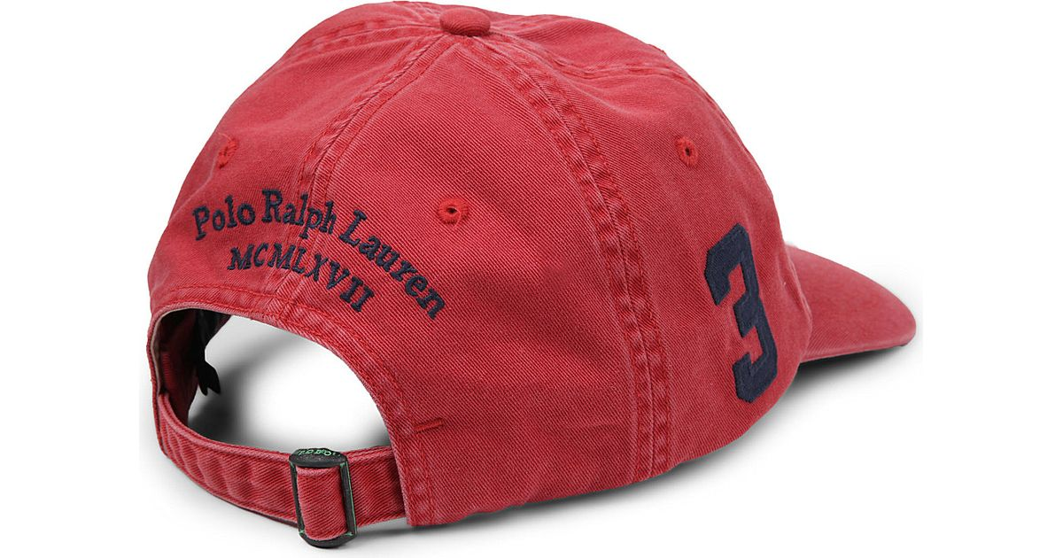 529c95c9a979e Ralph Lauren Sunwashed Big Pony Baseball Cap in Red for Men - Lyst
