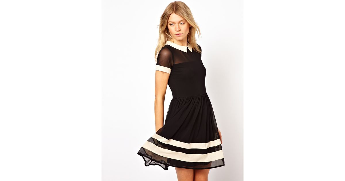 Black Skater Dress With Mesh Hot Product 26919 38c4f Zamzaam