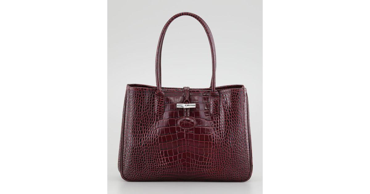 c2e1b5d9ca5e Lyst - Longchamp Roseau Crocodile-embossed Shoulder Bag