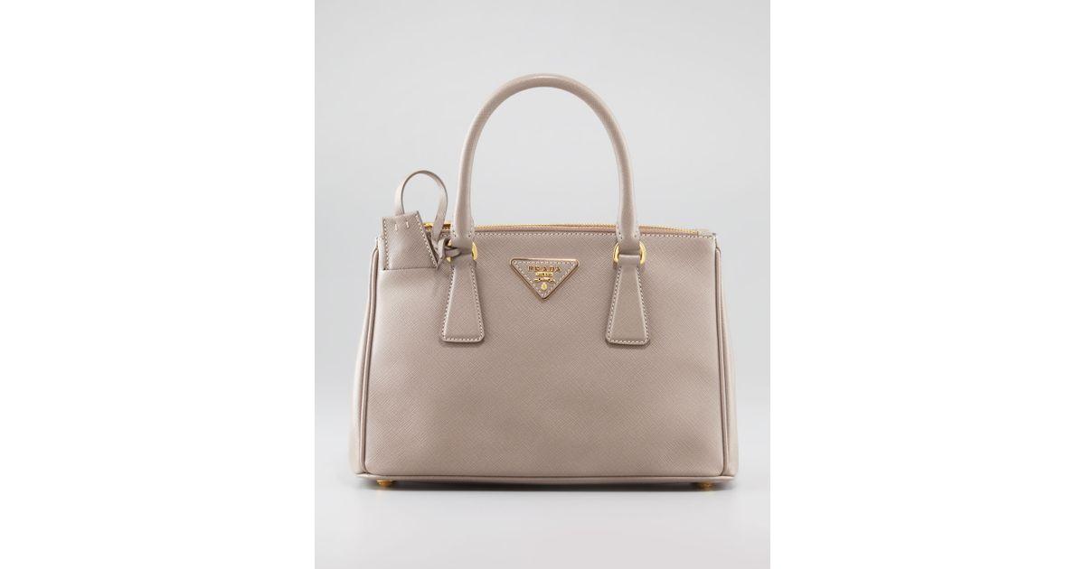 6f06e39f4155fe ... low price lyst prada mini saffiano lux tote bag in pink f5a06 307ef ...
