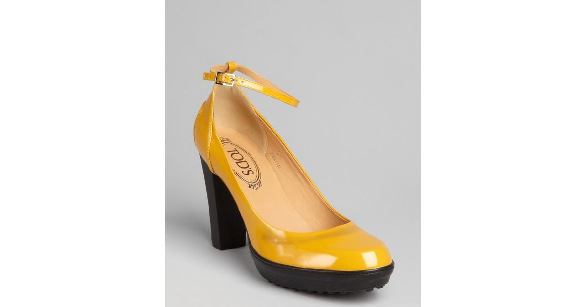 2dc0901c4f69 Tod S Mustard Patent Leather Platform Ankle Strap Pumps in Yellow - Lyst
