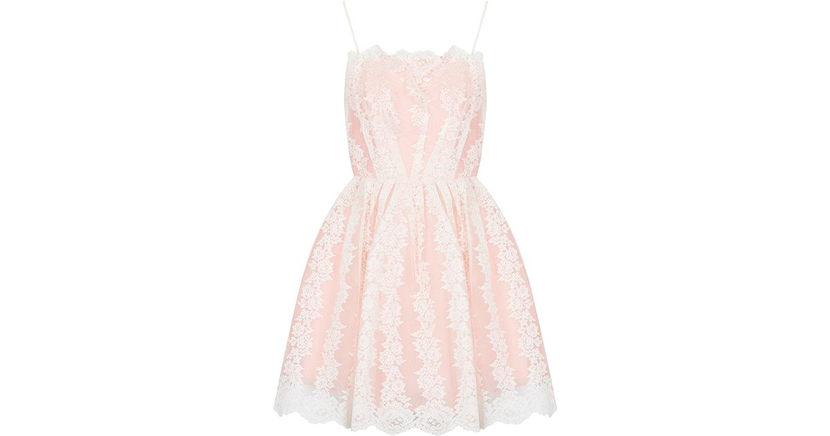 Lyst - Topshop Petite Strappy Lace Prom Dress in Pink