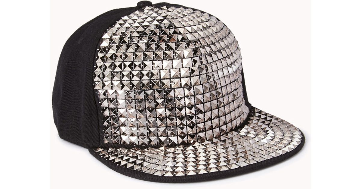 Lyst - Forever 21 Studded Snapback in Metallic bf4f26e06ee