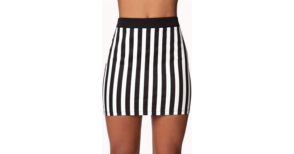 e2e7be0f02 Forever 21 Vertical Striped Pencil Skirt in Black - Lyst
