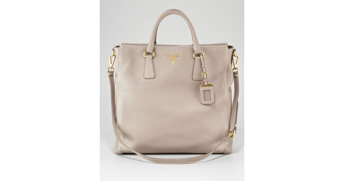 1ba59d0779 Prada Vitello Daino Northsouth Tote Bag in Beige (argilla)