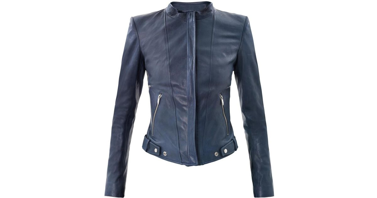 Lyst Theyskens Theory Nomi Janner Leather Jacket In Blue