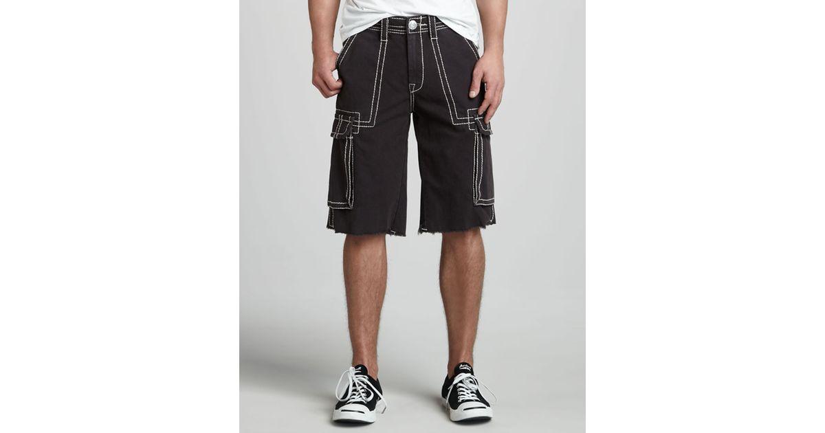 c47fbbedc6 True Religion Isaac Big T Cargo Shorts in Black for Men - Lyst