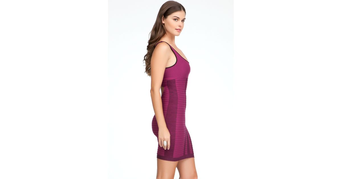 d4aba8d02 Lyst - Bebe Multi Color Cinch Bodycon Dress in Purple
