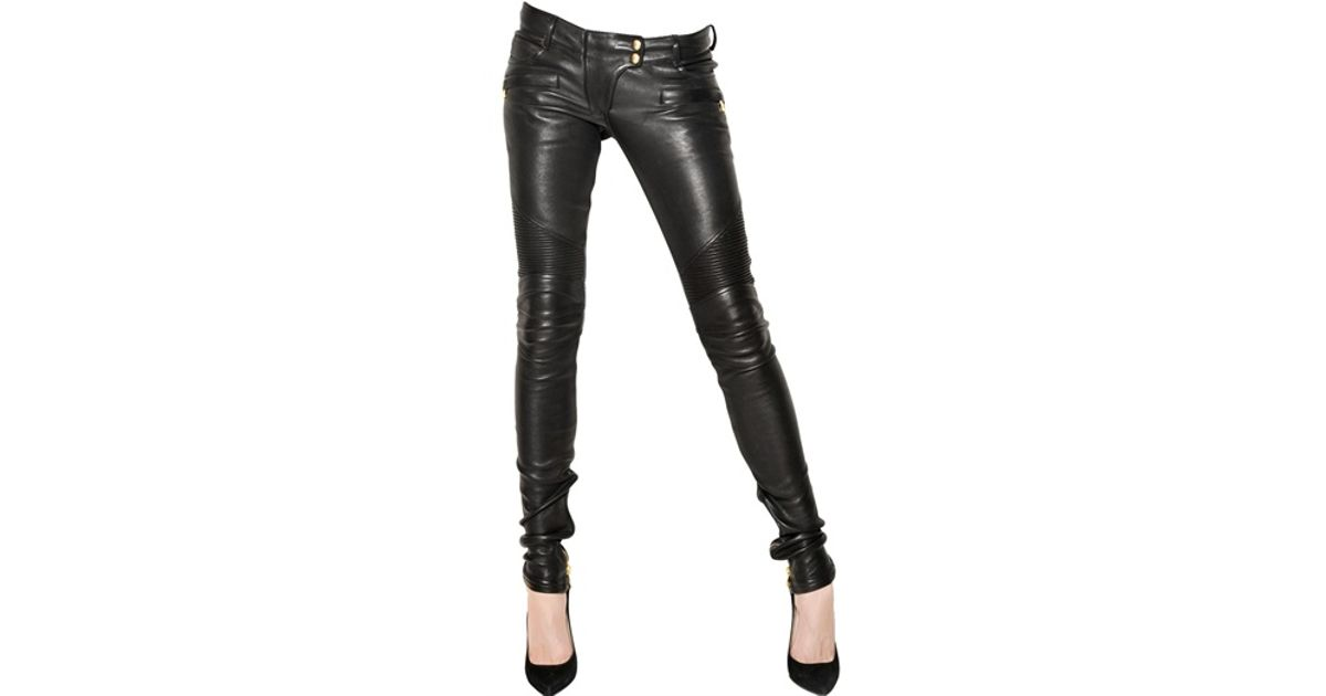 cc69bf93 Balmain Quilted Stretch Leather Biker Jeans in Black - Lyst