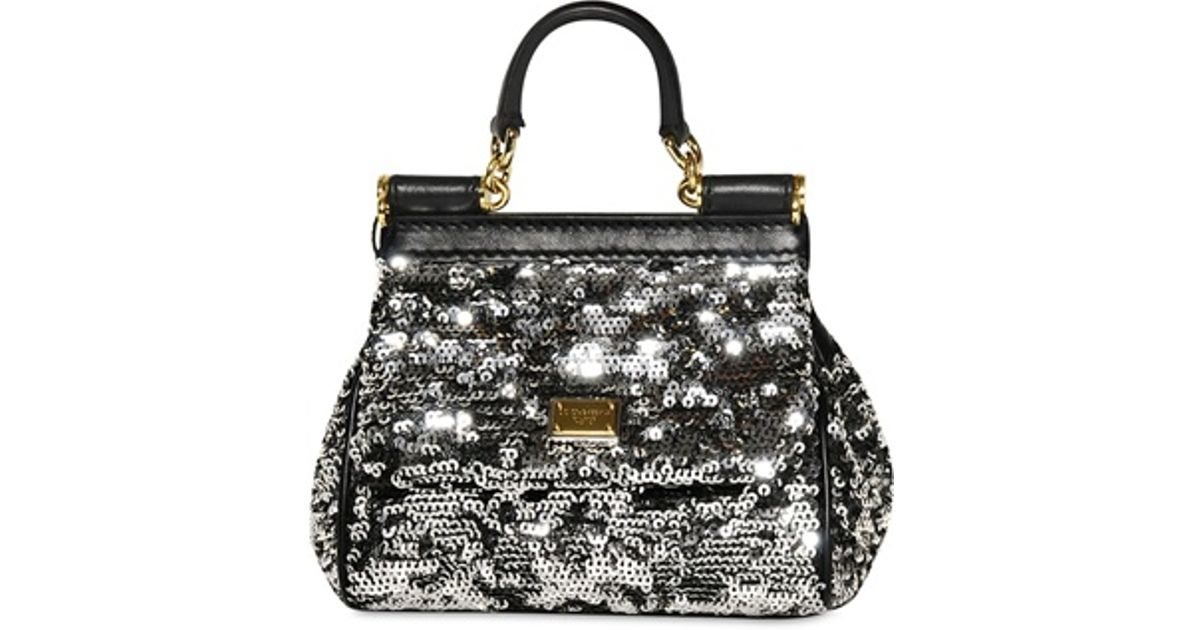 a4c77841f200 Dolce   Gabbana Mini Miss Sicily Sequined Shoulder Bag in Metallic - Lyst