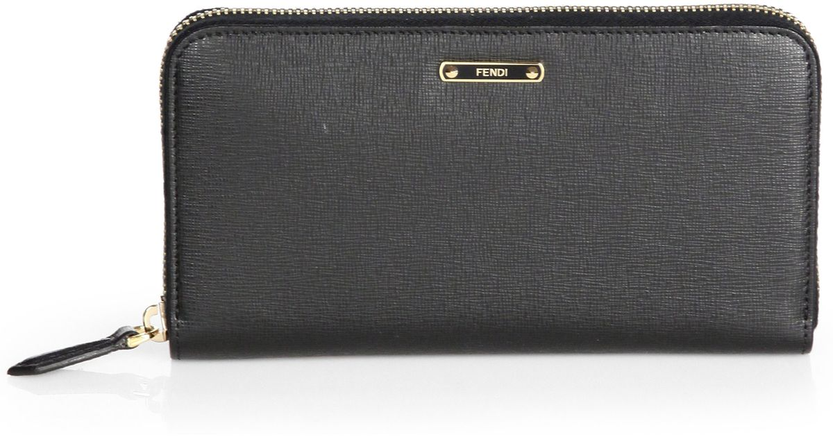 a59d6eea44 Fendi Vitello Elite Zip-around Wallet in Black - Lyst