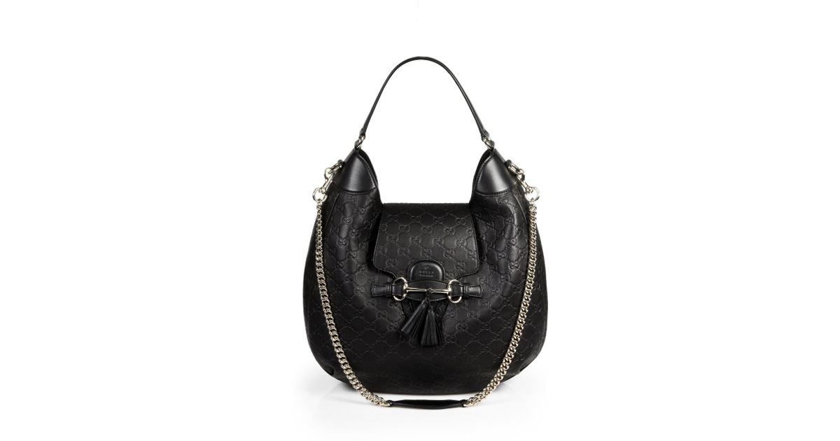 ff8d2c0ba68 Gucci Emily Leather Hobo in Black - Lyst