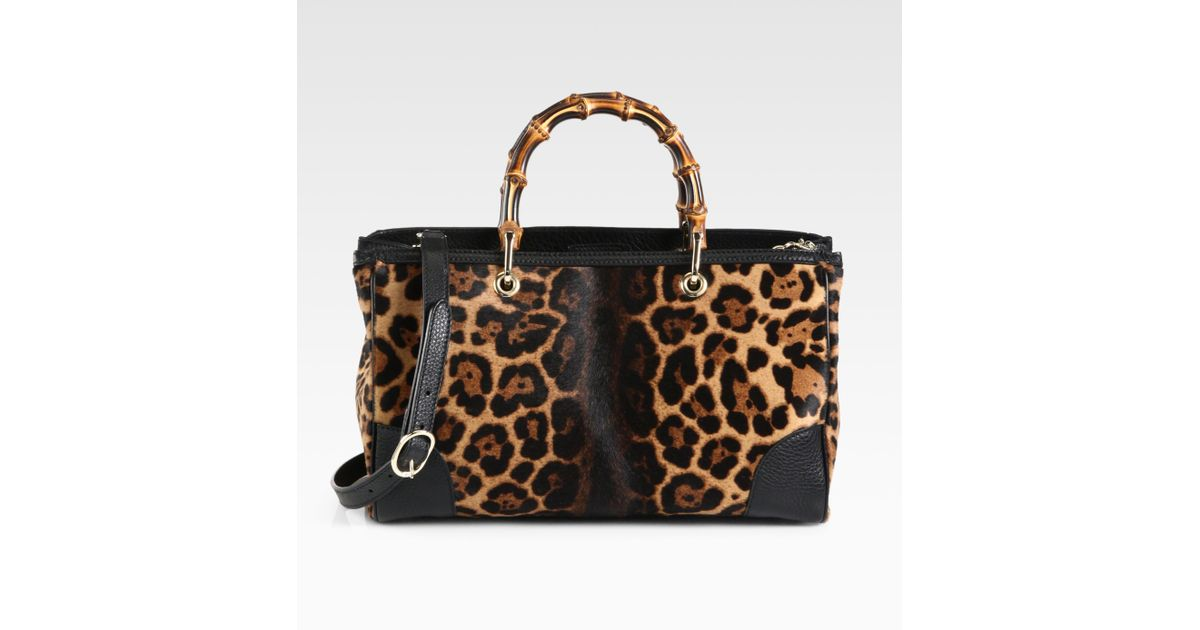 3a32d4936e3 Lyst - Gucci Bamboo Shopper Jaguar Print Tote in Black