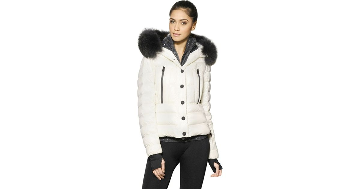 Lyst - Moncler Grenoble Bever Raccoon Fur Hood Nylon Down Jacket in White