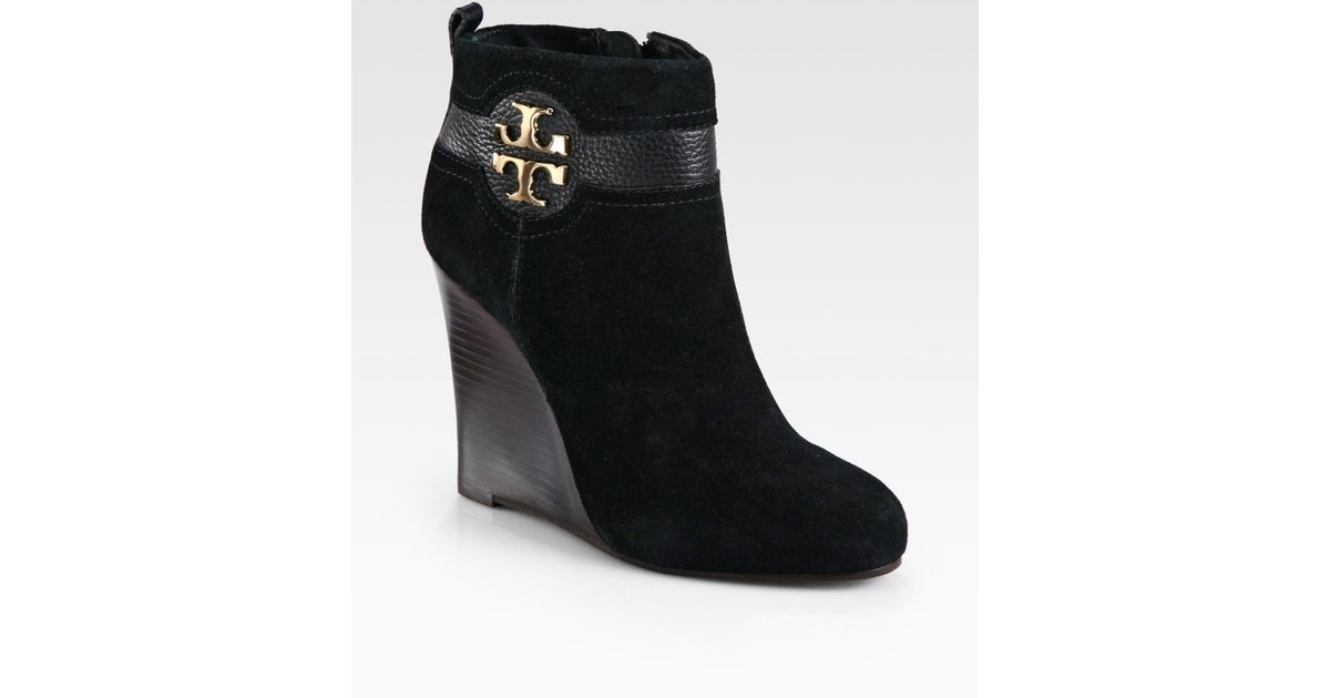 520e8e2bec33e2 Lyst - Tory Burch Alaina Suede and Leather Wedge Ankle Boots in Black